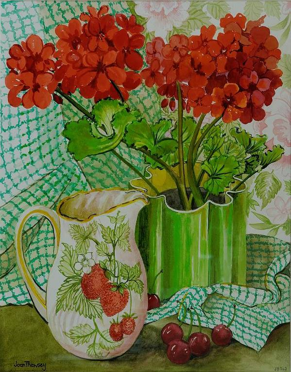 Flowers; Geraniums; Strawberries; Stoned Fruit; Berries; Arrangement; Pot Plant; Colorful; Chequered Cloth; Gingham; Still Life Poster featuring the painting Red Geranium With The Strawberry Jug And Cherries by Joan Thewsey