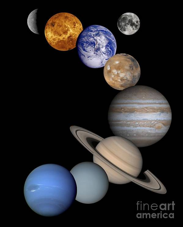 Solar; System; Montage; Astronomy Poster featuring the drawing Solar System Montage by Anonymous