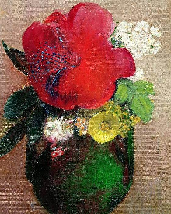 Arrangement; Flower; Symbolist Poster featuring the painting The Red Poppy by Odilon Redon