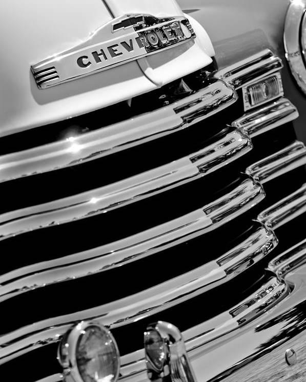 1956 Chevrolet 3100 Pickup Truck Grille Emblem Poster featuring the photograph 1956 Chevrolet 3100 Pickup Truck Grille Emblem by Jill Reger