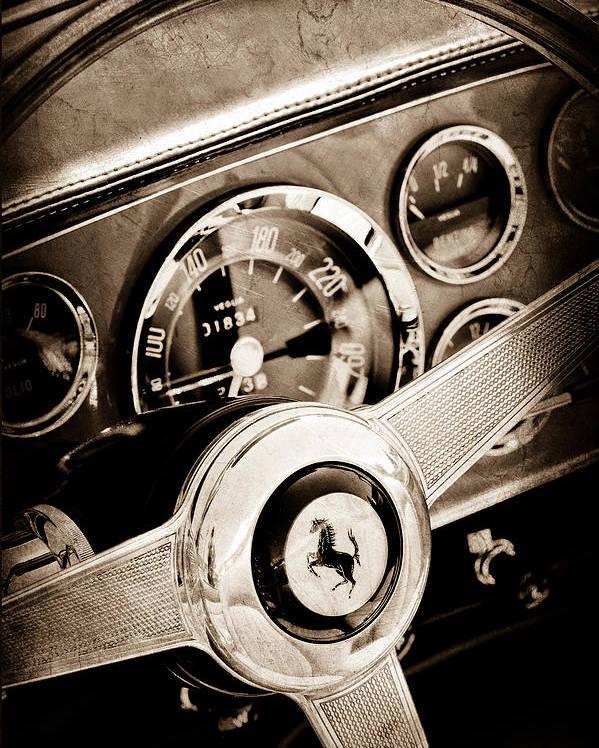 1960 Ferrari 250 Gt Cabriolet Pininfarina Series Ii Steering Wheel Emblem Poster featuring the photograph 1960 Ferrari 250 Gt Cabriolet Pininfarina Series II Steering Wheel Emblem by Jill Reger