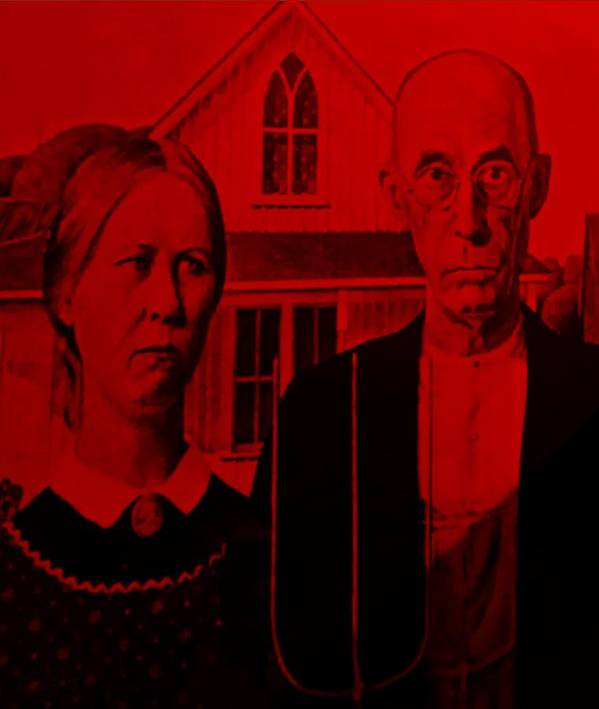 Americana Poster featuring the photograph American Gothic In Red by Rob Hans
