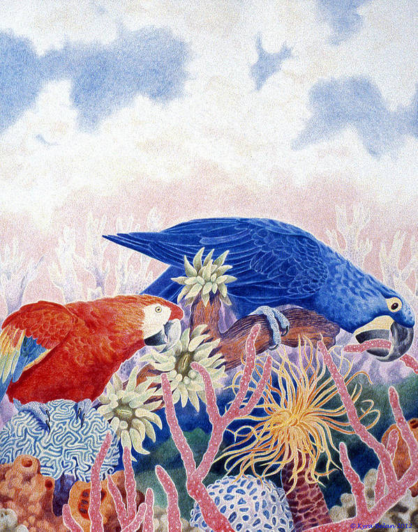 Red Parrot And Blue Parrot Surrounded By Blue Sky And Surreal Environment Of Underwater Plants. Poster featuring the drawing Astarte's Paradise IIi by Kyra Belan