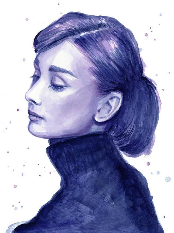 Audrey Poster featuring the painting Audrey Hepburn Portrait by Olga Shvartsur