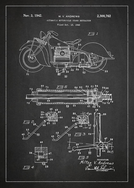 Harley Poster featuring the drawing Automatic Motorcycle Stand Retractor Patent Drawing From 1940 by Aged Pixel