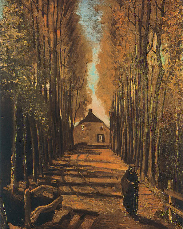Vincent Van Gogh Poster featuring the painting Avenue Of Poplars In Autumn by Vincent van Gogh