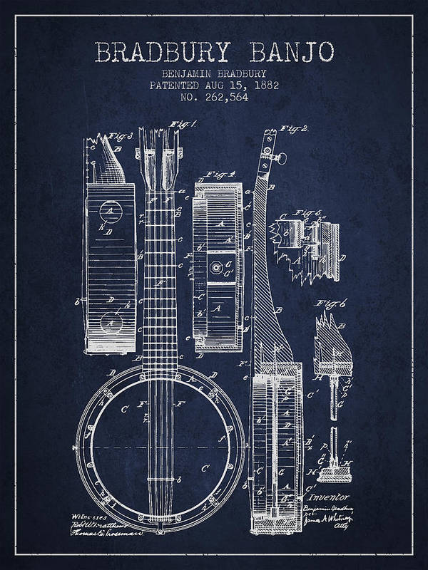 Banjo Poster featuring the digital art Banjo Patent Drawing From 1882 - Blue by Aged Pixel