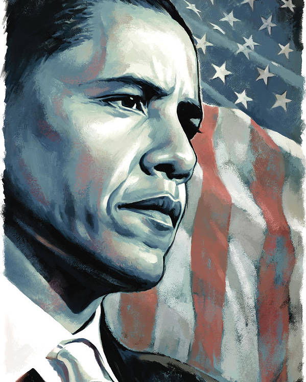 Barack Obama Paintings Poster featuring the painting Barack Obama Artwork 2 by Sheraz A