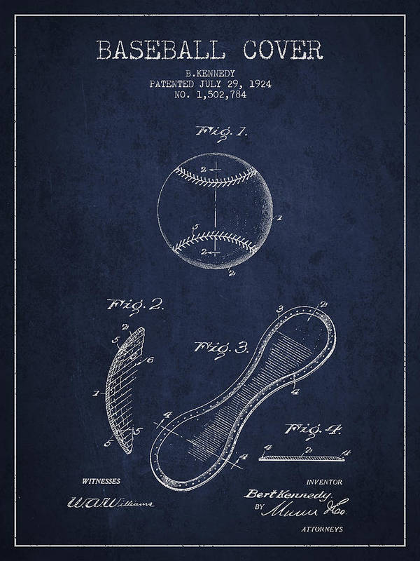 Baseball Patent Poster featuring the digital art Baseball Cover Patent Drawing From 1924 by Aged Pixel