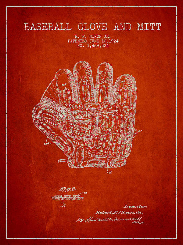 Baseball Glove Poster featuring the digital art Baseball Glove Patent Drawing From 1924 by Aged Pixel