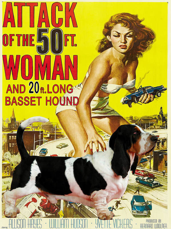 Basset Hound Art Canvas Print - Attack of the 50ft woman Movie Poster by Sandra Sij