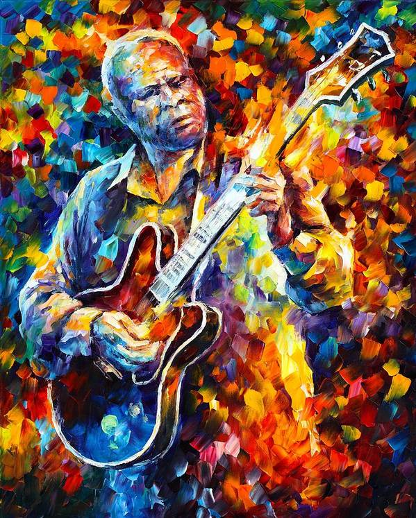 Afremov Poster featuring the painting Bb King Long Nights by Leonid Afremov