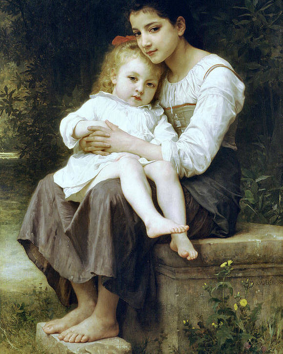 Big Sister Poster featuring the digital art Big Sister by William Bouguereau