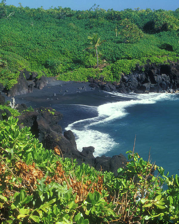 Maui Hawaii Beaches: Black Sand Beach Hana Maui Hawaii Poster By John Burk