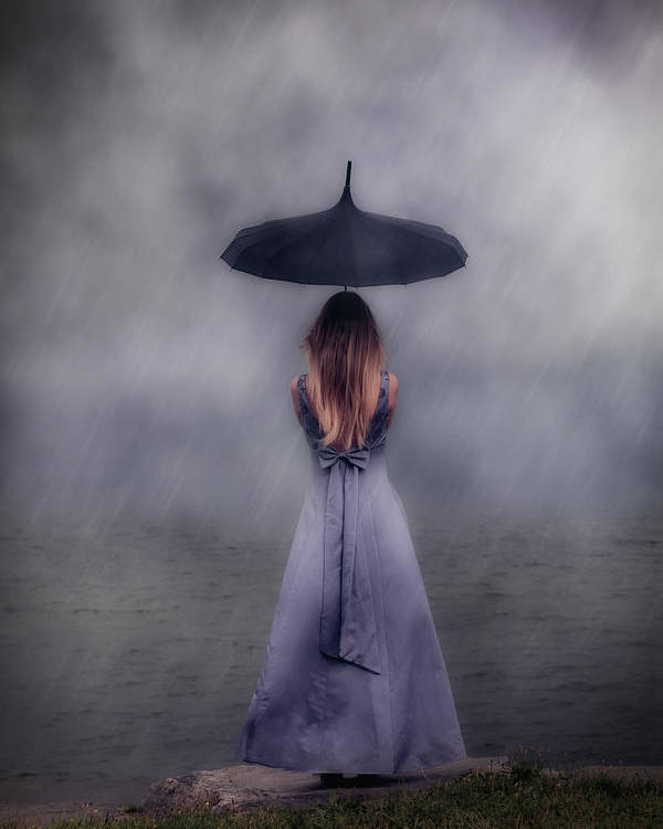 Girl Poster featuring the photograph Black Umbrella by Joana Kruse