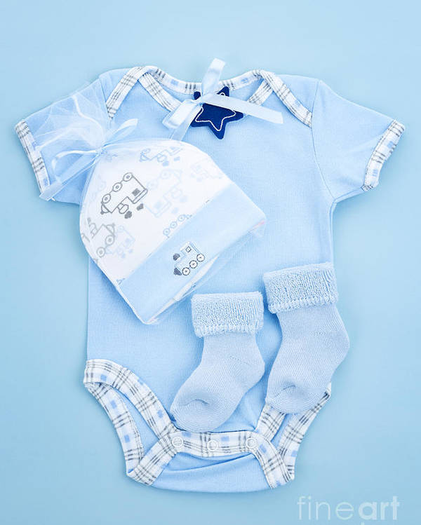 Baby Clothes Poster featuring the photograph Blue Baby Clothes For Infant Boy by Elena Elisseeva