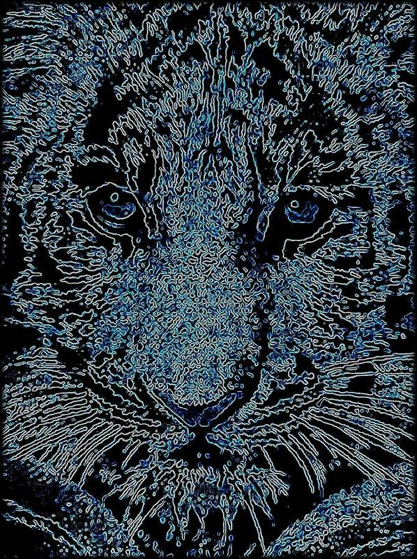 Big Cat Poster featuring the mixed media Blue Tiger by Wendie Busig-Kohn
