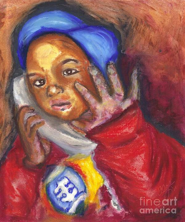 Little Boy Poster featuring the pastel Busy Talkin To Grandma Right Now by Alga Washington