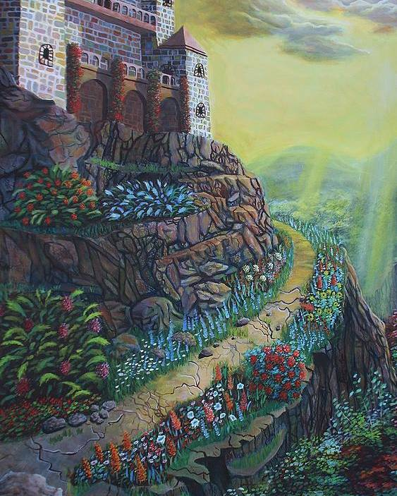 Landscape Poster featuring the painting Castle Mountain by Andre Platonov