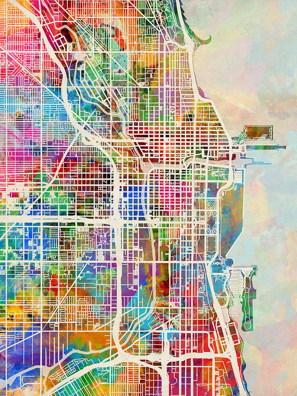 Chicago City Street Map Poster by Michael Tompsett on