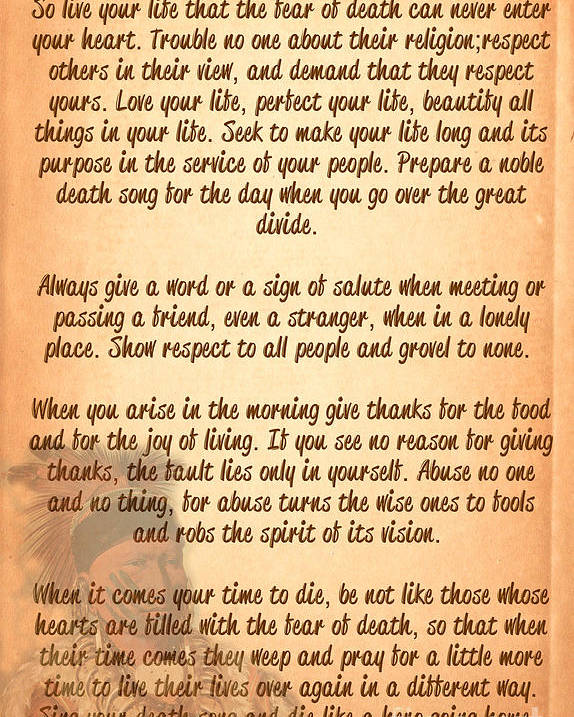Tecumseh Poster featuring the digital art Chief Tecumseh Poem - Live Your Life by Celestial Images
