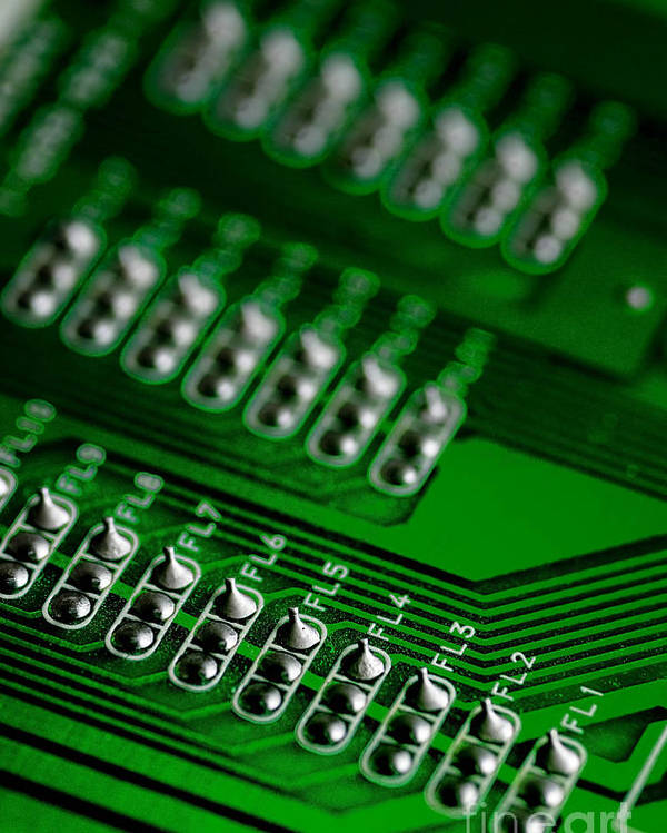 Bokeh Poster featuring the photograph Circuit Board Bokeh by Amy Cicconi