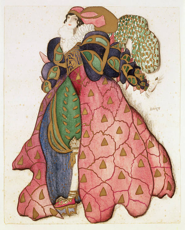 Serge Diaghilev Poster featuring the drawing Costume Design For The Ballet La by Leon Bakst