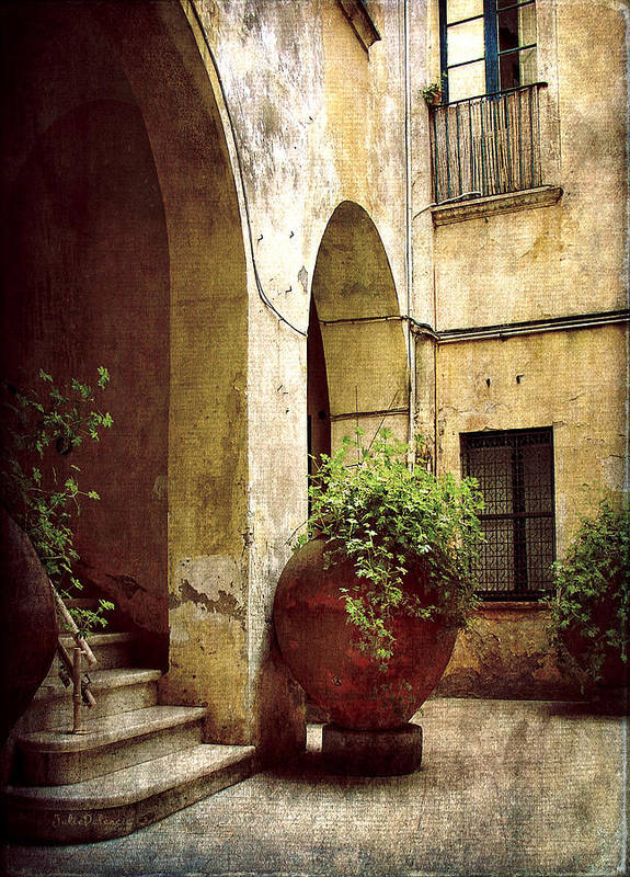 Capri Poster featuring the photograph Courtyard In Capri by Julie Palencia