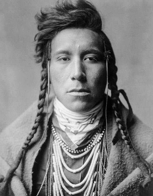 1908 Poster featuring the photograph Crow Indian Man Circa 1908 by Aged Pixel