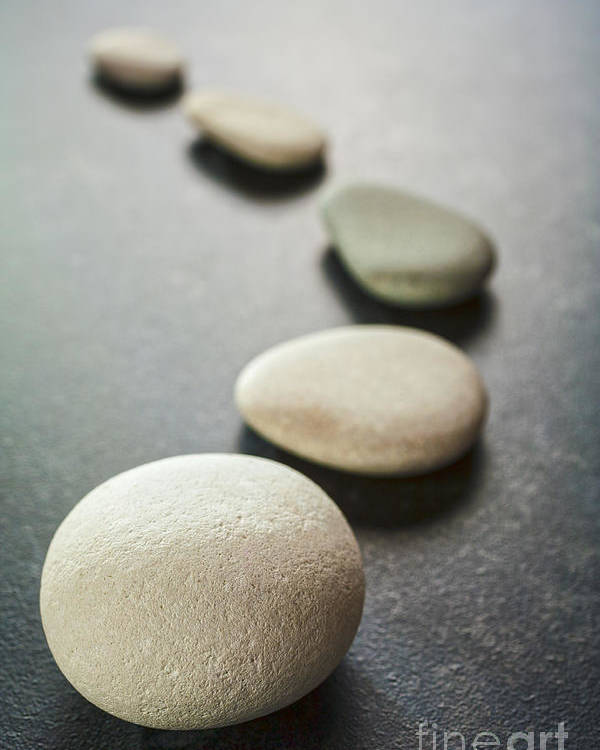 Stone Poster featuring the photograph Curving Line Of Grey Pebbles On Dark Background by Colin and Linda McKie