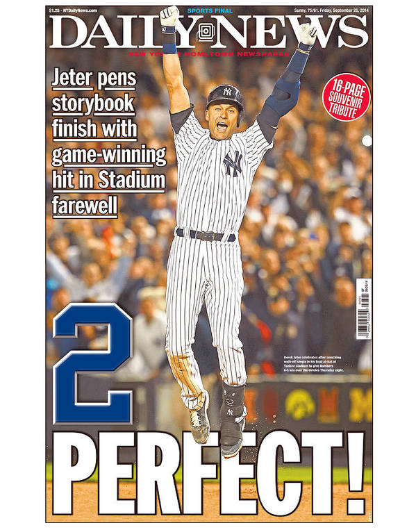 American League Baseball Poster featuring the photograph Daily News Front Page Wrap Derek Jeter by New York Daily News