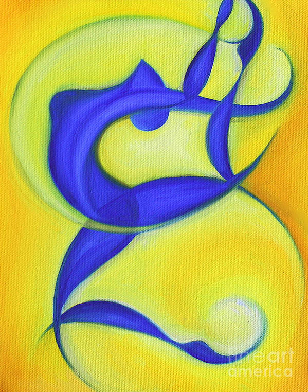 Abstract Art Poster featuring the painting Dancing Sprite In Yellow And Blue by Tiffany Davis-Rustam