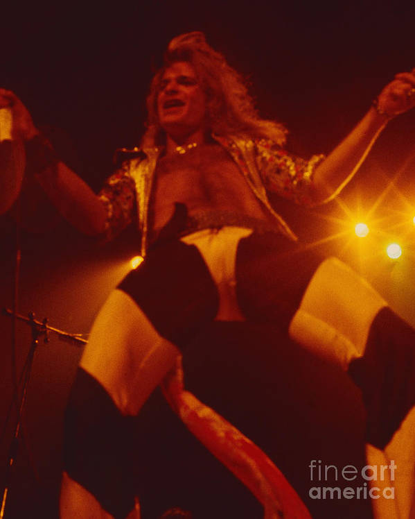 Van Halen Poster featuring the photograph David Lee Roth - Van Halen At The Oakland Coliseum 12-2-1978 Rare Unreleased by Daniel Larsen
