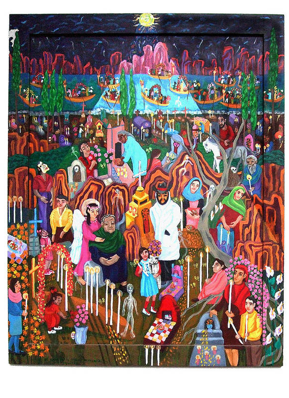 People Poster featuring the painting Days Of The Dead by Maria Alquilar