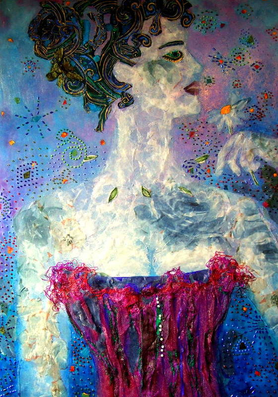 Mixed Media Collage Poster featuring the mixed media Dreaming by Diane Fine