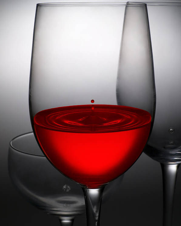 Abstract Poster featuring the photograph Drops Of Wine In Wine Glasses by Setsiri Silapasuwanchai