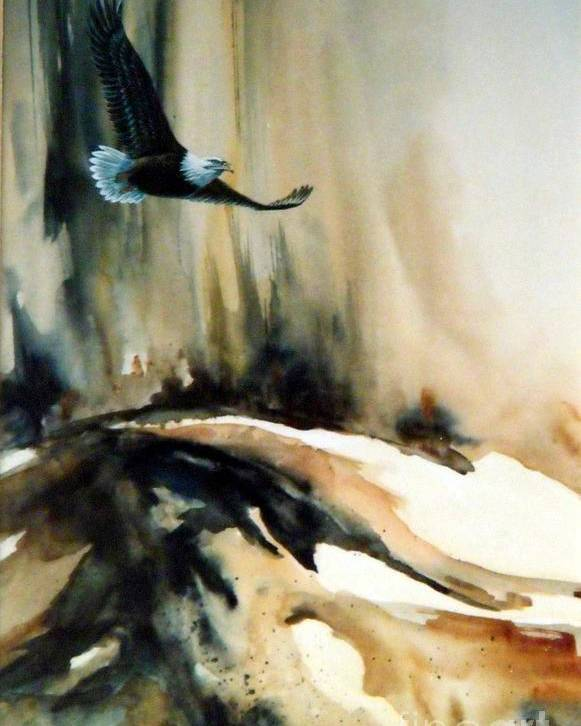 Soaring Eagle Poster featuring the painting Eagle in Flight by Lynne Parker