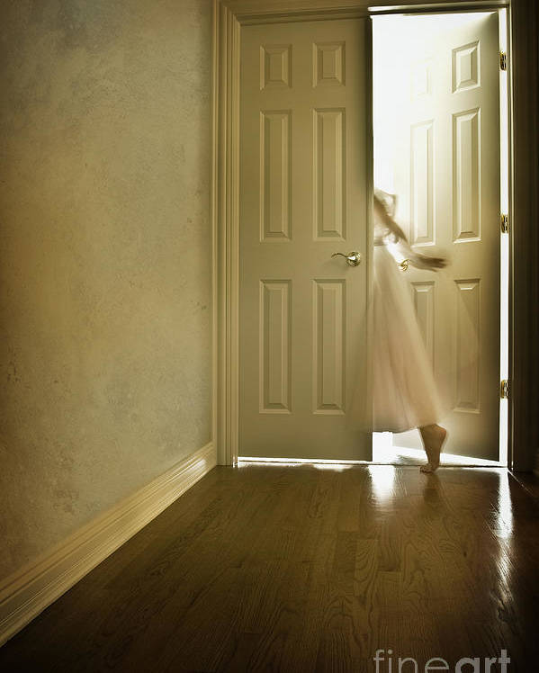 Memory; Woman; Female; Lady; Ghost; Caucasian; Dress; Pink; Flowing; Blur; Foot; Barefoot; Door; Doorway; Wood Floors; Closed; Open; Going Into The Light; Light; Bright; Heaven; Death; Wall; House; Home; Indoors; Inside; Hall; Foyer; Walking; Conceptual Poster featuring the photograph Entrance by Margie Hurwich