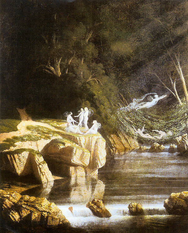 Fairies Poster featuring the digital art Fairies By A Rocky Stream by Francis Danby