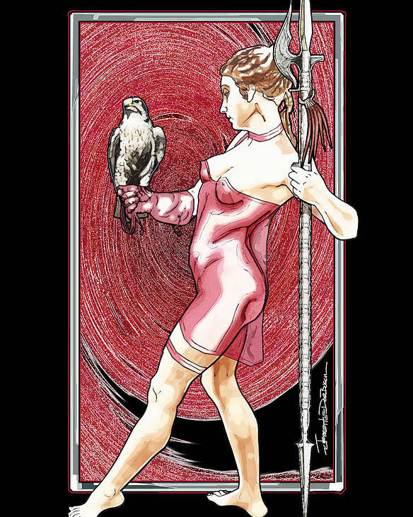 Falcon Poster featuring the painting Falcon Queen - Atlanta Falcons Version by Jerrett Dornbusch