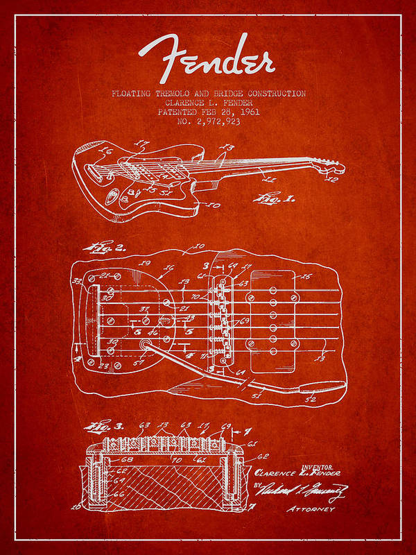 Fender Poster featuring the digital art Fender Floating Tremolo Patent Drawing From 1961 - Red by Aged Pixel