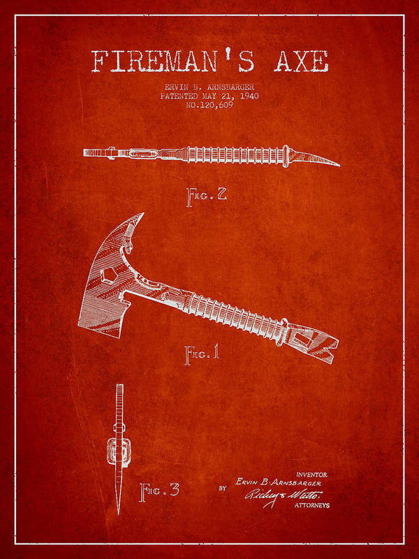Axe Poster featuring the digital art Fireman Axe Patent Drawing From 1940 by Aged Pixel