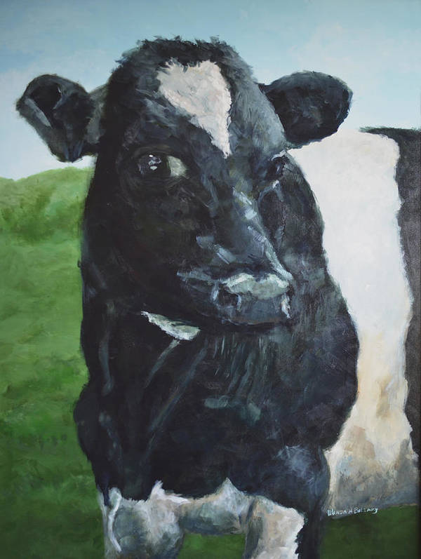 Cow Poster featuring the painting Flirtatious Cow by Wanda Bellamy