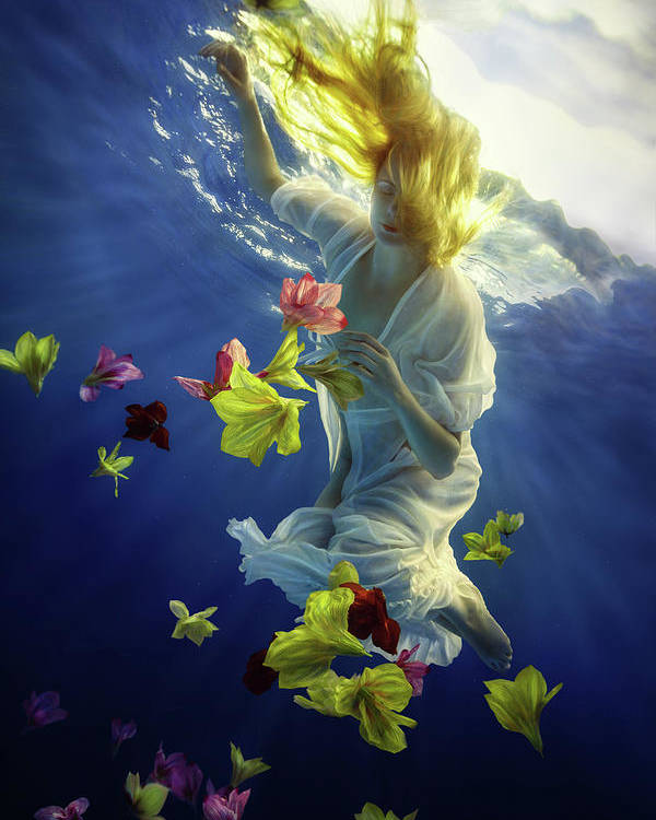 Girl Poster featuring the photograph Flower Fantasy by Dmitry Laudin