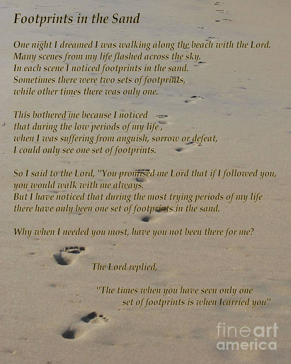 photo relating to Footprints in the Sand Poem Printable Version known as Footprints Inside of The Sand Poem Poster