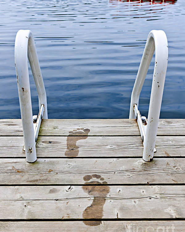 Footprints Poster featuring the photograph Footprints On Dock At Summer Lake by Elena Elisseeva