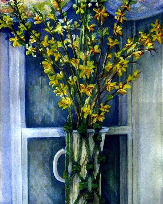 Art Poster featuring the painting Forsythia  Original SOLD by Elle Smith Fagan