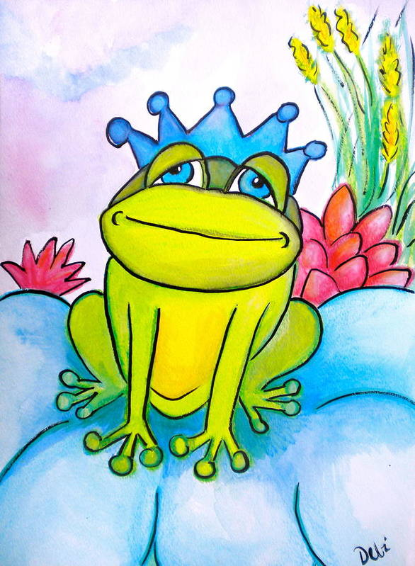 Frog Prince Poster featuring the painting Frog Prince by Debi Starr