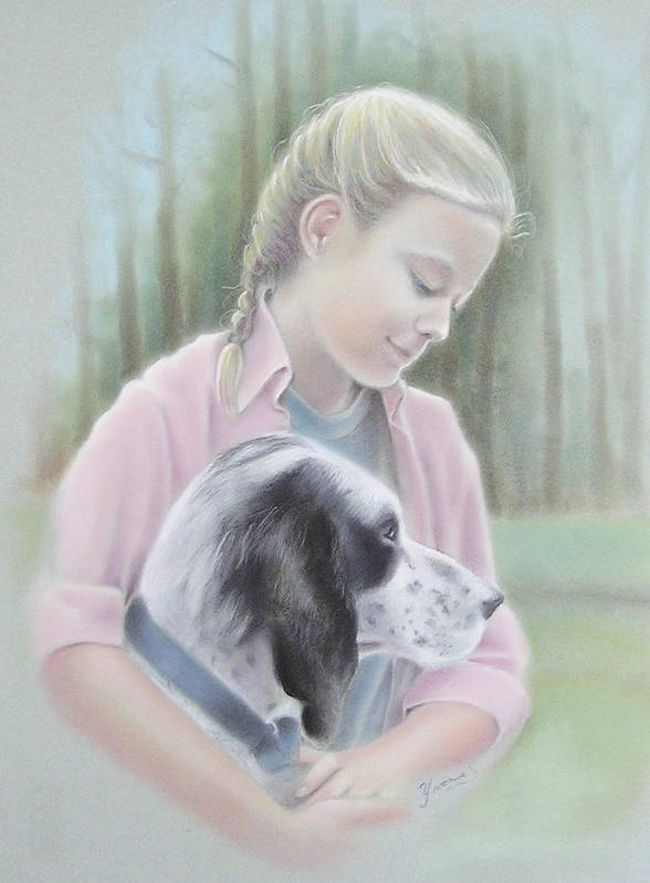 Child Poster featuring the pastel Girl With Her Dog by Yvonne Seiwell