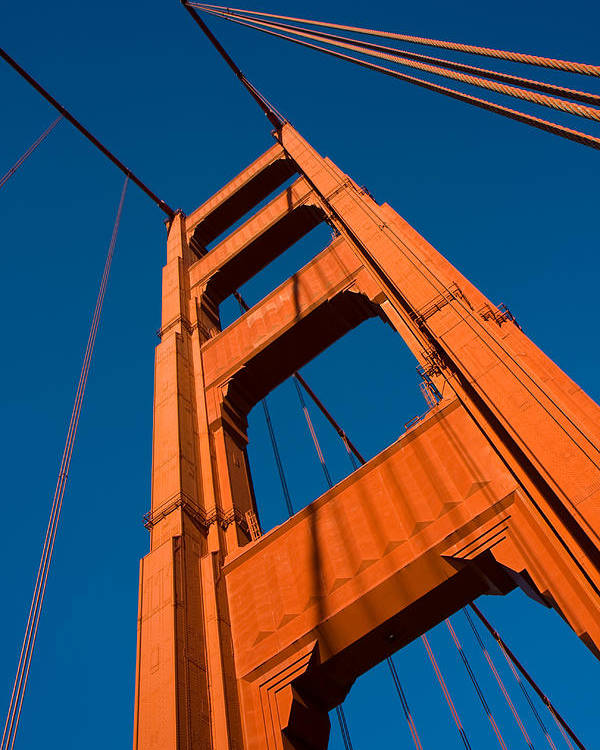 Golden Gate Bridge Poster featuring the photograph Golden Tower by Darren Patterson